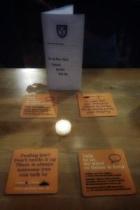 Coasters in The Griffin Bar, Homerton College