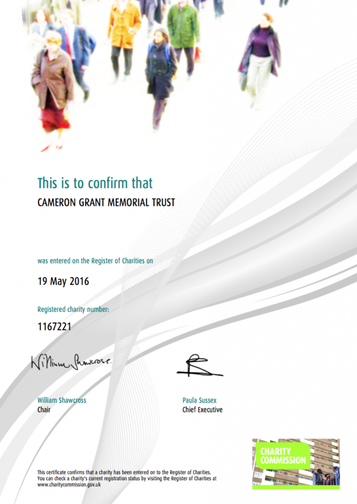Registration Certificate for CGMT from the Charity Commission (Reg Charity No: 1167221)