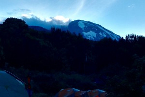 Our first view of Kili peak (from Machame Camp, early morning, 9 Aug)