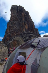 The Lava Tower looms above our mess tent. White-necked ravens circling above!