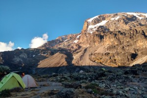 Barranco Camp with Kili above